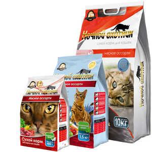 Ночной охотник, сухой корм для кошек, мясное ассорти (400 г, 10 кг).