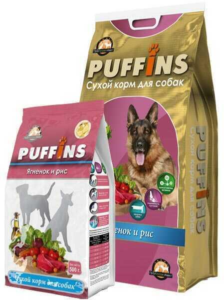 Puffins, сухой корм для взрослых собак, ягненок и рис.
