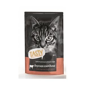 Пауч Tasty для кошек, говядина в желе (в упаковке 25 шт. по 85 гр.)