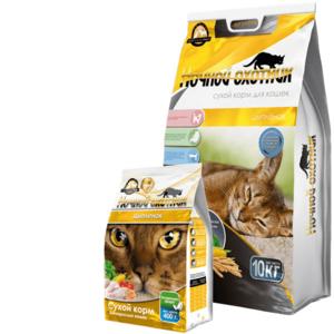 Ночной охотник, сухой корм для кошек со вкусом цыпленка (400 гр).