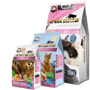 Ночной охотник, сухой корм для кошек с ягненком и рисом (400 г, 10 кг)