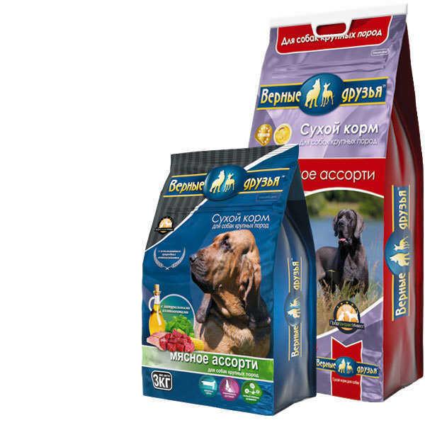 Верные друзья, сухой корм для взрослых собак, крупных пород, мясное ассорти (5 кг, 15 кг)
