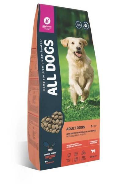 ALL DOGS сухой корм для взрослых собак с говядиной и овощами